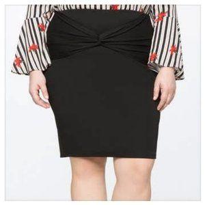 ELOQUII Black Twist Front Pencil Skirt PLUS Size
